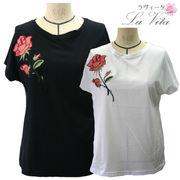 ローズ刺繍Tシャツ<薔薇 ローズ トップス>