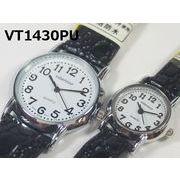 VITAROSOメンズ、レディース腕時計 ペア PUレザーベルト 日本製ムーブメント 見やすい文字盤