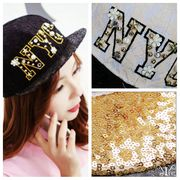 【即納75346】韓国ファッション NYC スパンコール&ラインストーン付きレースフラワー キャップ 四色