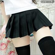 ■送料無料■超ミニ無地プリーツスカート単品 色:無地黒 サイズ:M/BIG