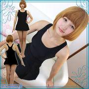 1239C/B◇■送料無料■パッド付きの本物スカート付きスクール水着 色:黒 サイズ:M/L/XL/XXL