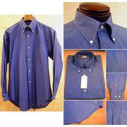 上質コットン100% オックスフォード生地 メンズ ボタンダウンシャツ ダークブルー