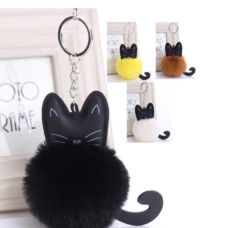 キーホルダー 猫 かわいい キーリング ペンダント付き バッグチャム ふわふわ