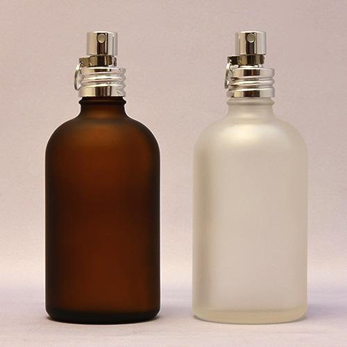 (半透明)&(茶色) 100ml 遮光瓶 アルミスプレー付 フロスト加工ガラスボトル◆詰替え/容器/クリップ付き