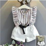 子供服 セットアップ 女の子 キッズセット  ストライプ柄シャツ+バンツ 2点セット ベルト付き