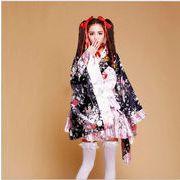 和服 女性 レディース【S-XXXL】 子供【S-L】 花火大会 花柄 レッド ピンク 6点セット