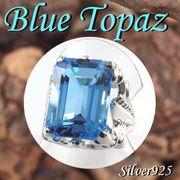 大きいサイズ / 11-0127 ◆ Silver925 シルバー  リング ブルートパーズ 17号  N-801