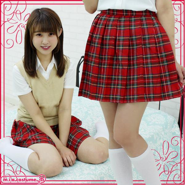 1225B■MB■送料無料■ チェック柄プリーツスカート単品 色:赤チェック サイズ:M/BIG