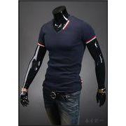 Tシャツ ストレッチ カットソー 半袖 プリント Vネック トップス トリコロール コーデ メンズファッション