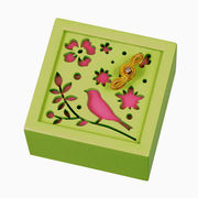 【 木製オルゴール (花と鳥) ♪世界に一つだけの花 】 【 木製Aメロディー 】