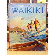 アメリカンブリキ看板 ハワイ-サーファーの隣で…