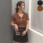【一部即納】トップス 半袖 リブニット レディース 襟 デザイン ボタン 黒 ブラック