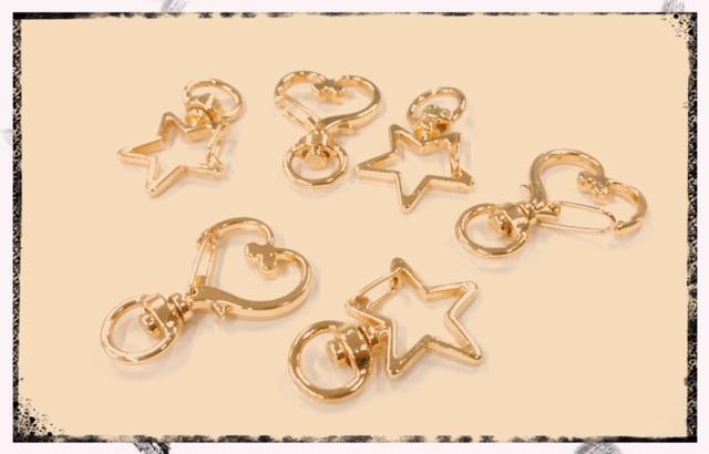 値下げ販売【基礎金具】キーホルダー ゴールド色の星型とハート型 46円⇒35円