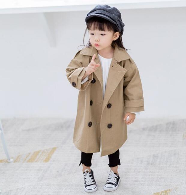 キッズコート 普段着 長袖 子供 90-130cm ジャケット トレンチュート 日常用 両前
