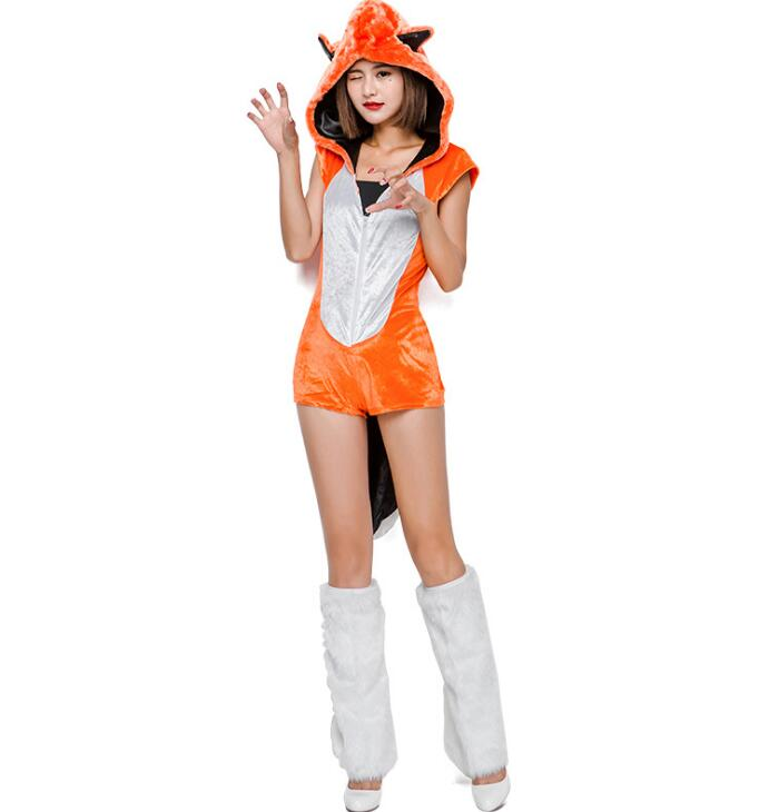 Halloween ハロウィン 厚手 動物変装 コスチューム レディースオールインワン きつね