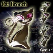 全4カラー★CZダイヤモンドCat Brooch★Cat'sEyeスマートキャットブローチ♪