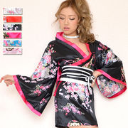 【再入荷】0410サテン和柄ミニ花魁着物ドレス 和柄 衣装 ダンス よさこい  コスプレ キャバドレス