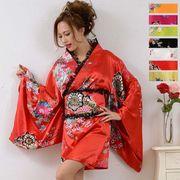 【新色追加】1005レースフリルリボンつきサテン花魁着物ドレス和柄 衣装 ダンス よさこい コスプレ