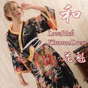 【再入荷】0228花魁風帯付き和柄サテンロングドレス 和柄 衣装 よさこい 花魁 コスプレ キャバドレス