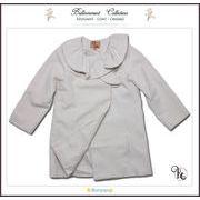 フォーマルに映えるフリル襟英国テイストのAラインPコート(JPBt)クリーム2  100-125cm