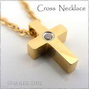 ステンレス ネックレス クロス 十字架 ジルコニア ゴールドレディース メンズ アクセサリー