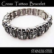 ステンレス ブレスレット メンズ レディース クロス 16連 ブレス 腕輪 シルバー アクセサリー