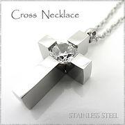 ステンレス ネックレス クロス 十字架 シルバー ジルコニア レディース メンズ アクセサリー