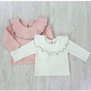 ★女の子 可愛い ビッグカラー フリルTシャツ★長袖 トップス キッズ 赤ちゃん 子供服