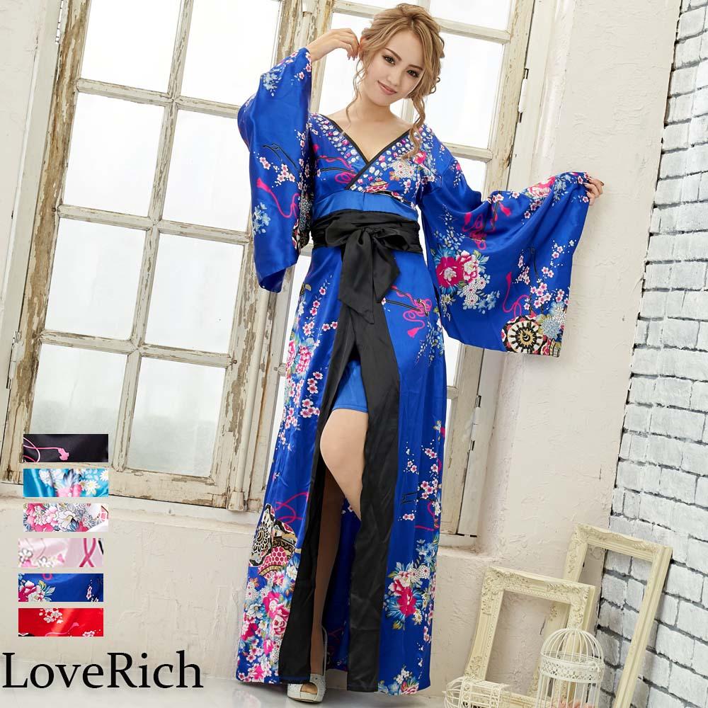 【再入荷】0309サテン花車リボンロング着物ドレス 和柄 衣装 ダンス よさこい 花魁 コスプレ キャバドレス
