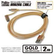 ほとんどのスマホを充電できるケーブル【LBR-HBTC2mGD】2m