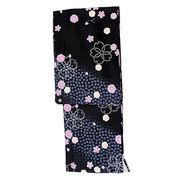 レディース カジュアル マドンナ 袷着物単品(黒色地に桜吹雪/M/Lサイズ)