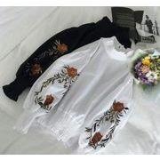 《即納》刺繍ブラウス ランタンスリーブ ボリュームスリーブ 花柄刺繍 【EruMon】