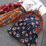 秋 新しいデザイン ファッション 韓国風 女児 丸襟 長袖Tシャツ キッズ洋服 中長デザ