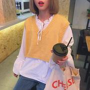 秋服 新しいデザイン 韓国風 ルース スピーカースリーブ ワイシャツ 短いスタイル Vネ