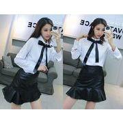 上下セット 2点セット スリム リボン付き ファッション 韓国風 #28057
