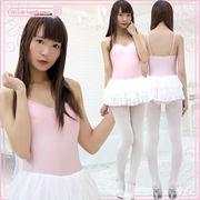 1208C■MB■送料無料■ チュールスカート付きキャミソールレオタード 色:ピンク×白 サイズ:M/BIG