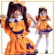 【即日出荷】オレンジ色 メイド服 アリス コスプレ衣装【5422/3】