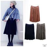 【セール412157】大きいサイズ ベロア プリーツ ミモレ丈 スカート 3L 4L 韓国 ファッション