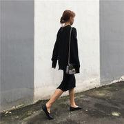 秋冬 韓国風 単一色 襟 ヘッジ セーター セット 女 学生パック ニッティング スカー