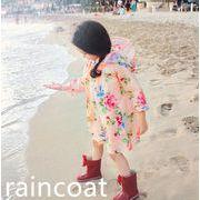 bc136491◆送料0円◆お嬢様風 雨の時 防雨 お花プリント雨がっぱ 子供レインコート