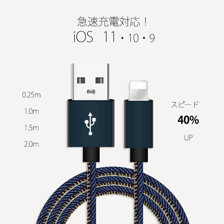 【一部即納】デニム iPhone 充電 転送ケーブル コード アイフォン Lightning USB/ 0.25m~2m