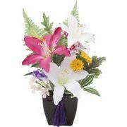 ポピー 造花 仏花 仏壇リリーポット 全長24cm・幅18cm M ミックス