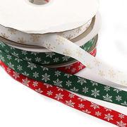 2メートル リボン グログラン 幅25mm クリスマス 緑 赤 白 雪 ラッピング インテリア 飾り