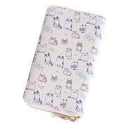 ミニ財布【かわいい猫】イラストプリント ラウンドファスナー ネコ