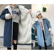 レディースアウター 2色 カーディガン 裏起毛 ロング コート デニムコート 通勤 通学人気 韓国風