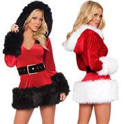 フード付きワンピース 2色 コスチューム 変装 クリスマス衣装 ベロア調 ワンサイズ ステージ