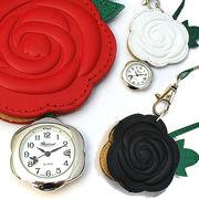 蝶の秒針☆ローズのバッグチャームウォッチ ハングウォッチ 薔薇 花 懐中時計 キーホルダー時計