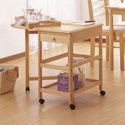 【直送可】木製バタフライテーブル付きキッチンワゴン KW-415