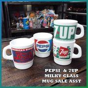 【SALE】PEPSI&7UP(ペプシコーラ・セブンアップ) ミルキー グラス マグカップ・セールアソートセット
