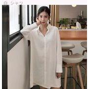 韓版chic包帯を包む胸の個性百搭でゆったり気質長袖シャツの長いセクション女秋シャツチュ